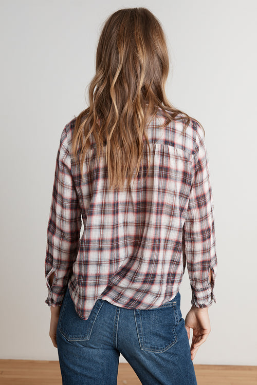 QUINN SOFT PLAID BUTTON UP TOP