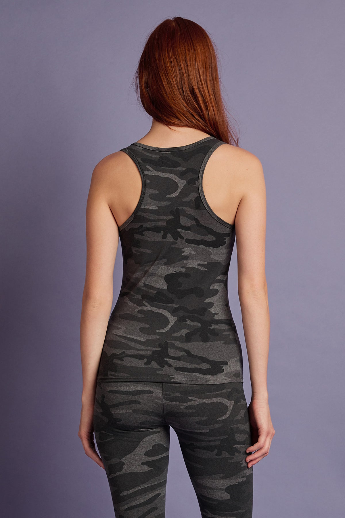 HEATHER STRETCH CAMO RACERBACK TANK TOP