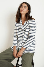 ALAYSIA STRIPED COTTON CANVAS PEACOAT