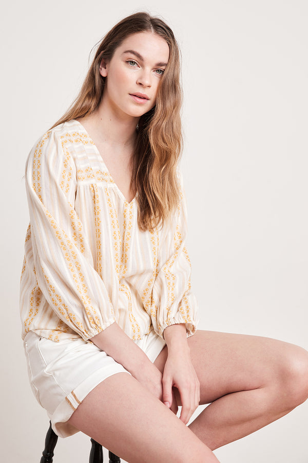 WINTER STRIPE JACQUARD BLOUSE