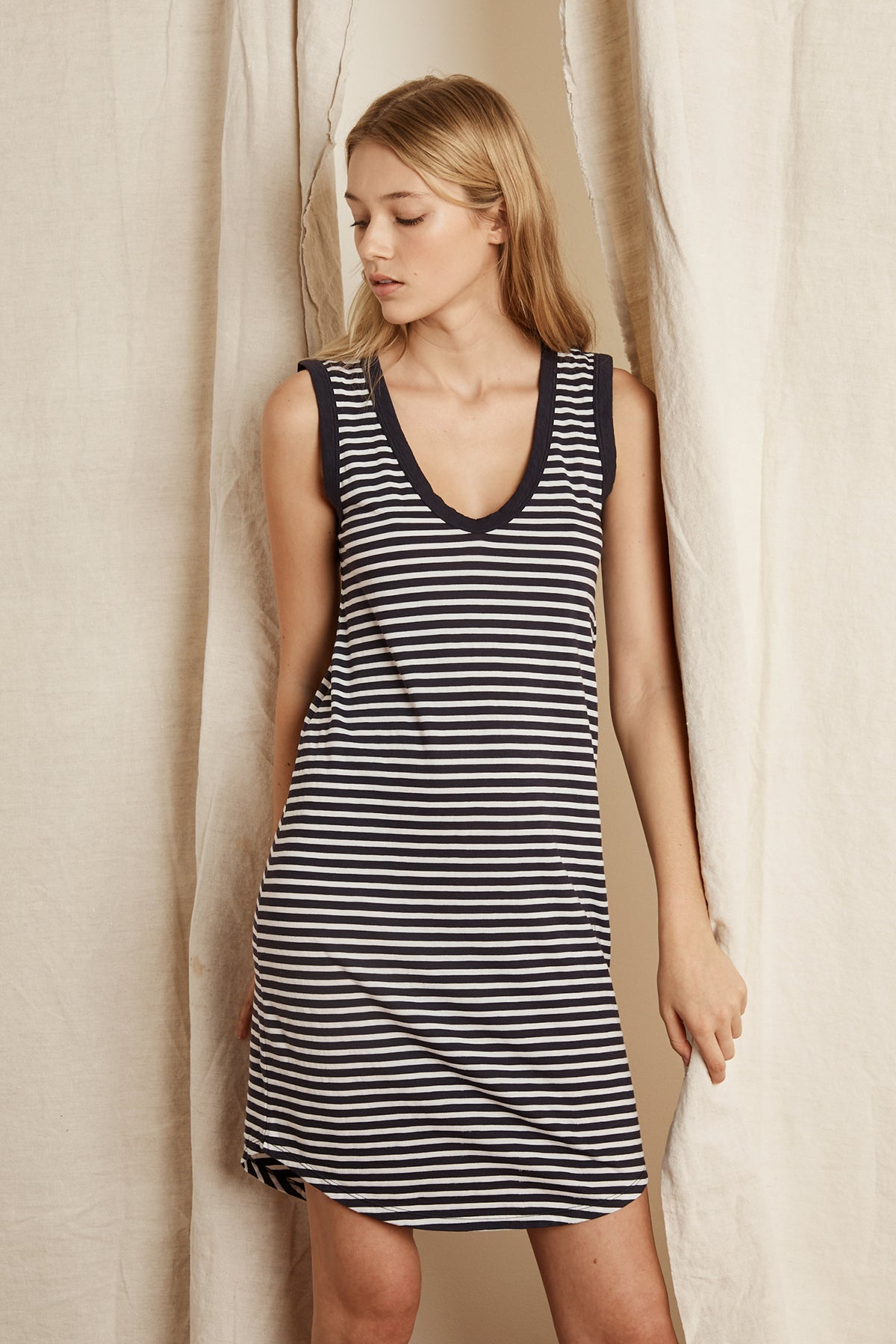 LIZABETH STRIPE JERSEY TANK DRESS