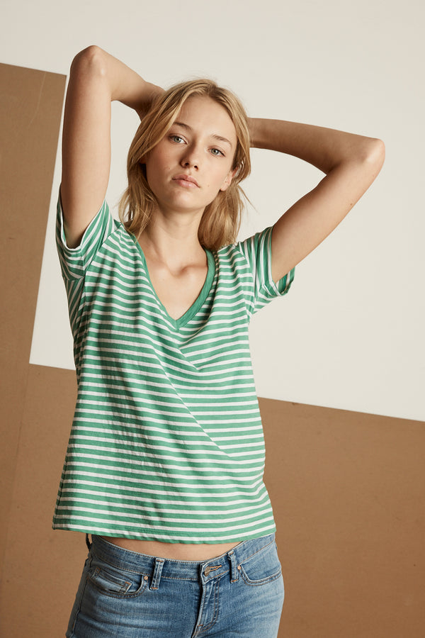 MADALYN STRIPE JERSEY V-NECK TEE