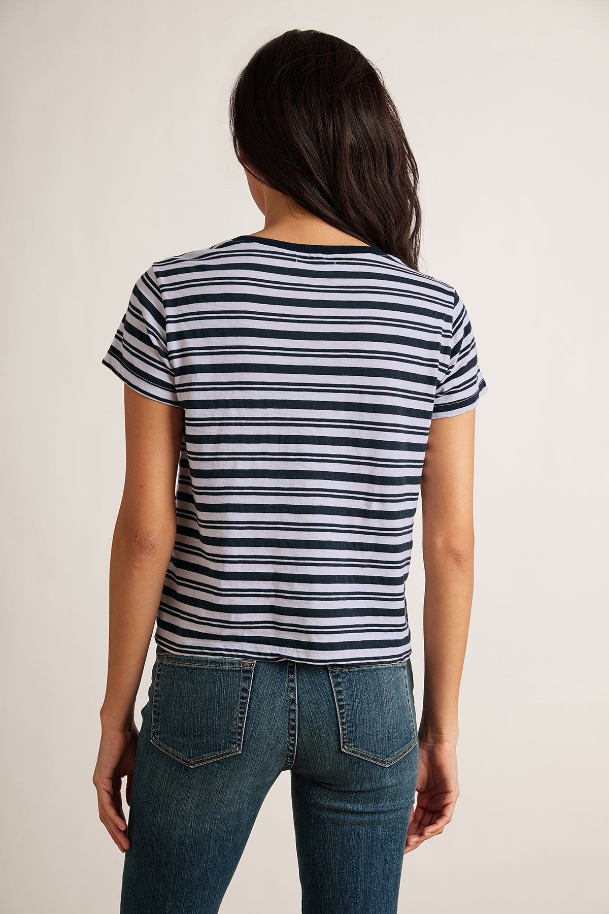 MIA STRIPE JERSEY SHORT SLEEVE CREW NECK TEE