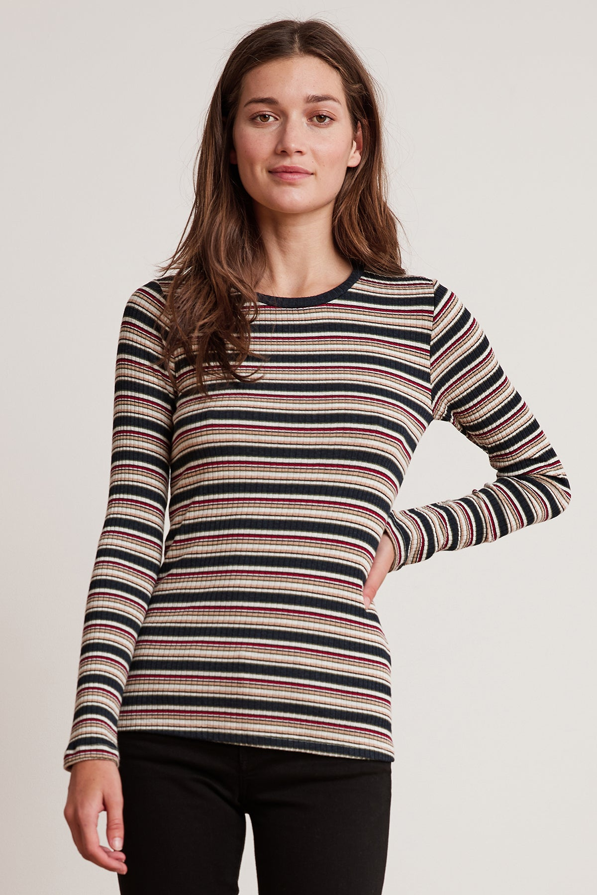 KIA STRIPE RIBBED LONG SLEEVE CREW NECK TEE