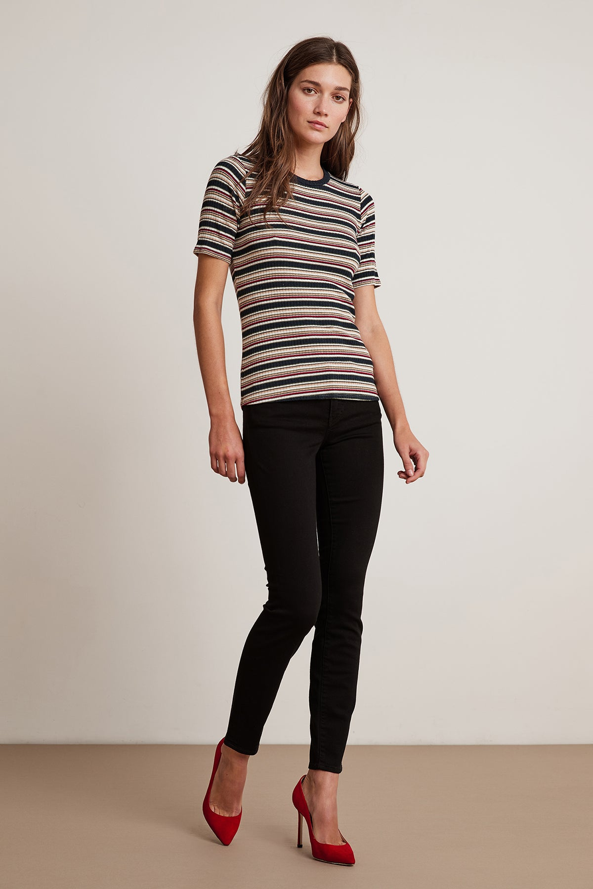 SHELLY STRIPE RIBBED CREW NECK SHORT SLEEVE TEE