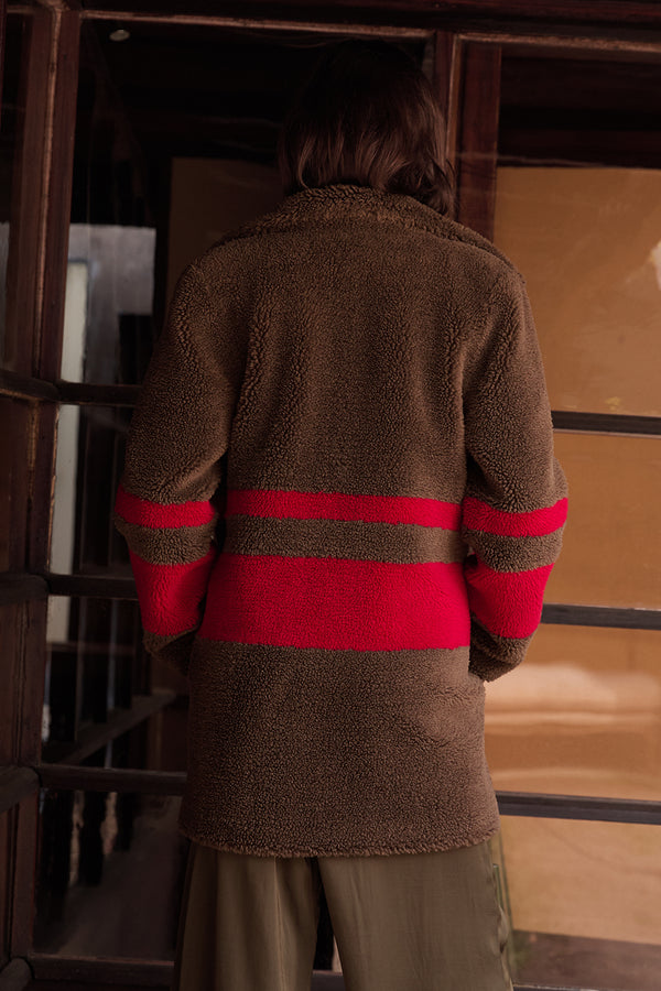 EVIAN STRIPE OVERSIZED SHERPA COAT