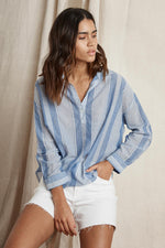 TASH COTTON STRIPE POPOVER SHIRT