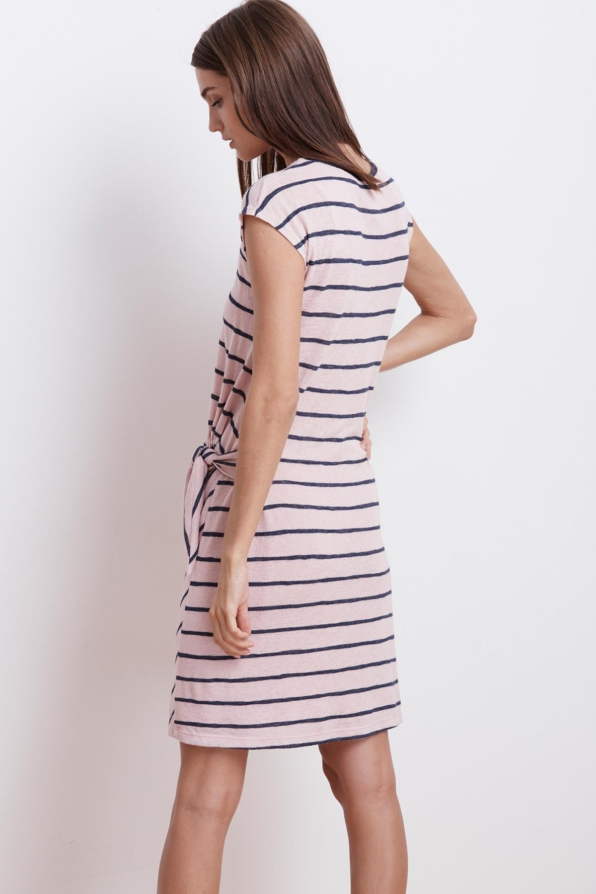 BELLAMY STRIPE TEXTURED KNIT KNOT DRESS