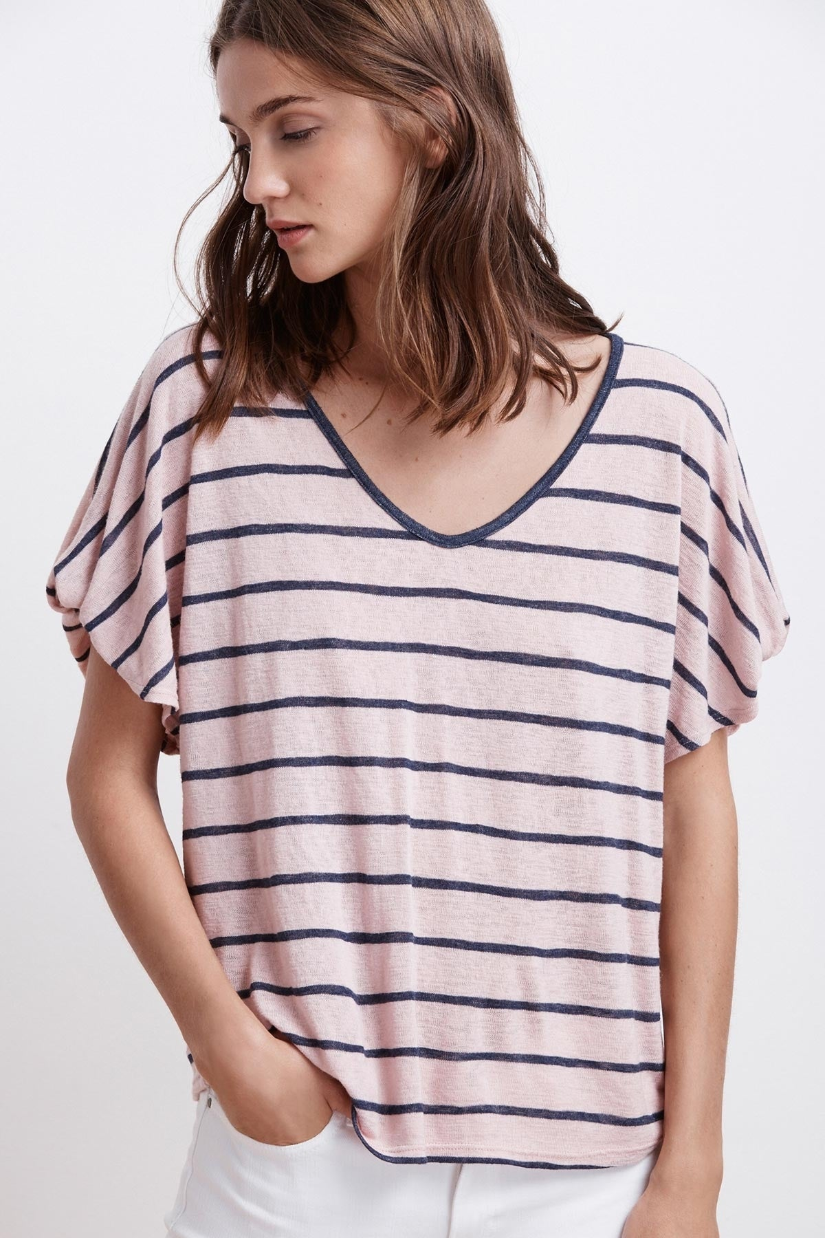 EVENA STRIPE TEXTURED KNIT V-NECK TOP
