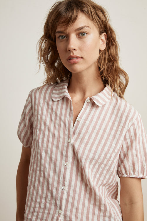 BESLEY STRIPE WOVEN SHORT SLEEVE BUTTON-UP SHIRT
