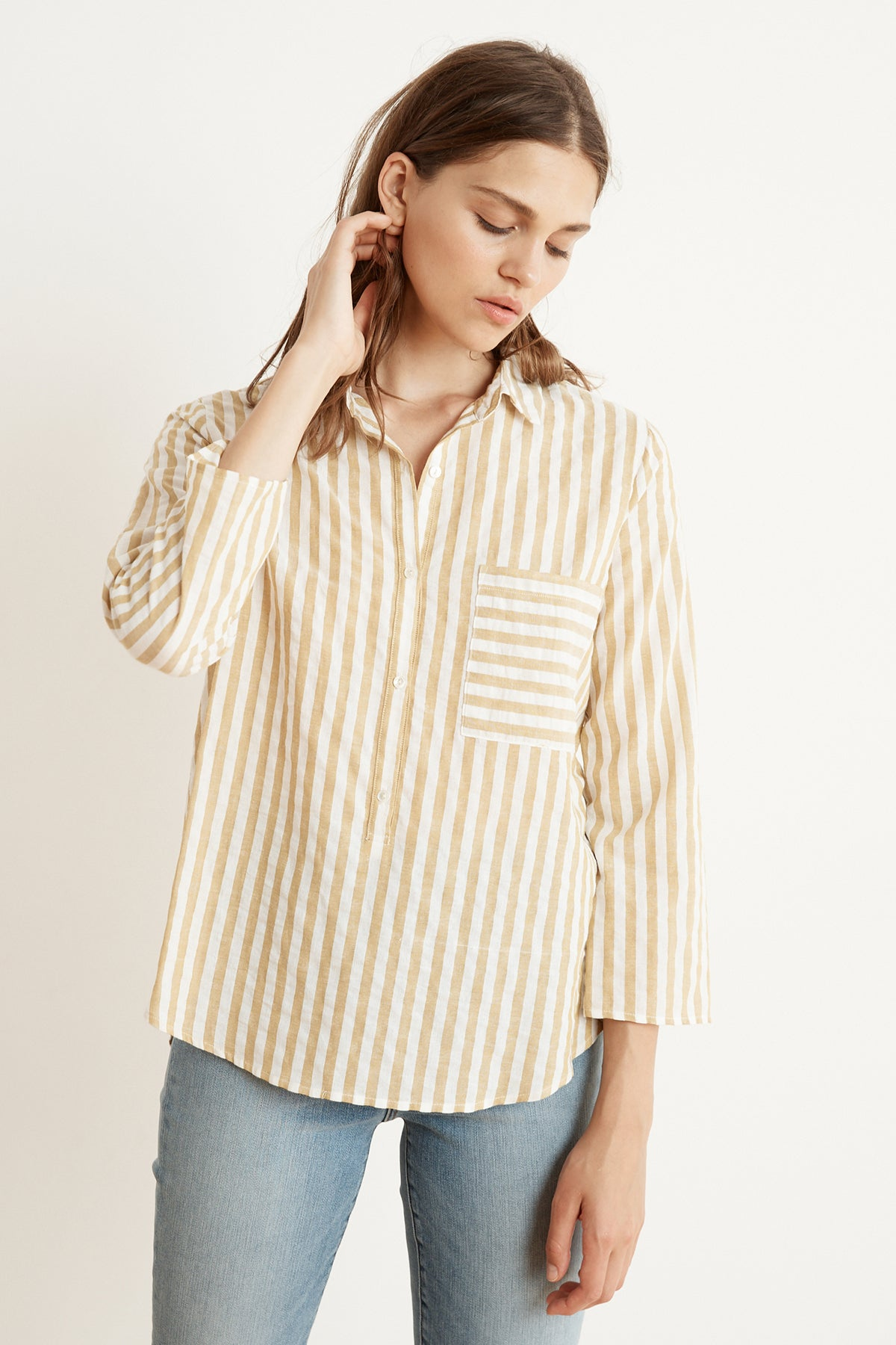 TAMMY STRIPE WOVEN LONG SLEEVE BUTTON-UP SHIRT