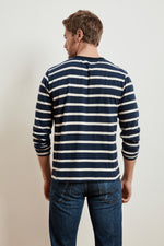 JASEN STRIPE LINEN BLEND LONG SLEEVE TEE