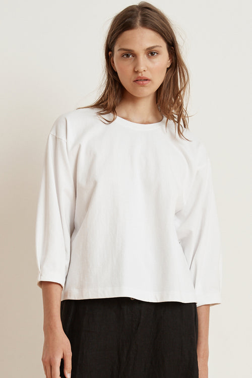 AVIE STRUCTURED COTTON 3/4 SLEEVE TOP