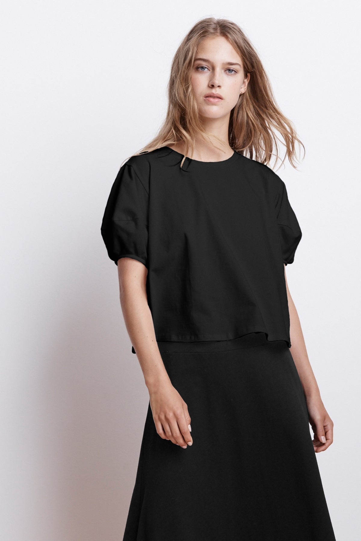AYLA STRUCTURED COTTON SWING TOP