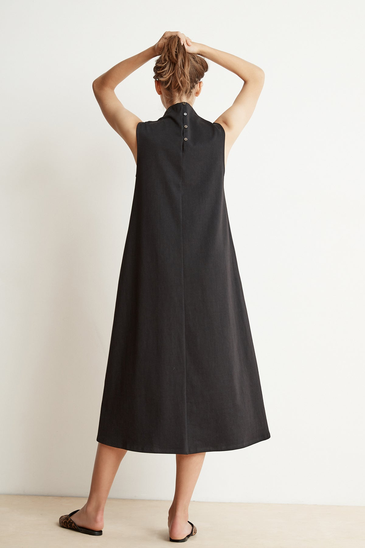FIONA STRUCTURED COTTON MOCK NECK MIDI DRESS