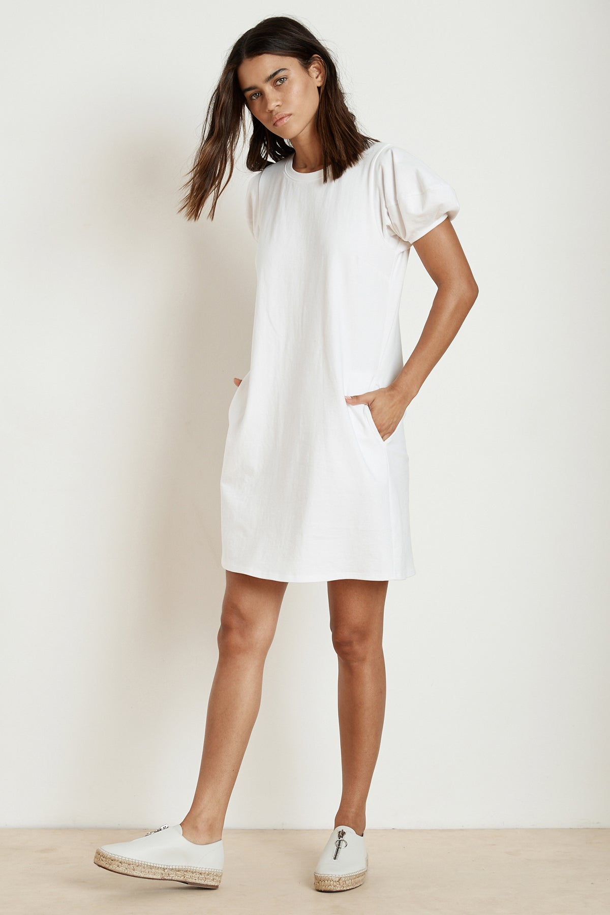 MOLLIE STRUCTURED COTTON PUFF SLEEVE DRESS