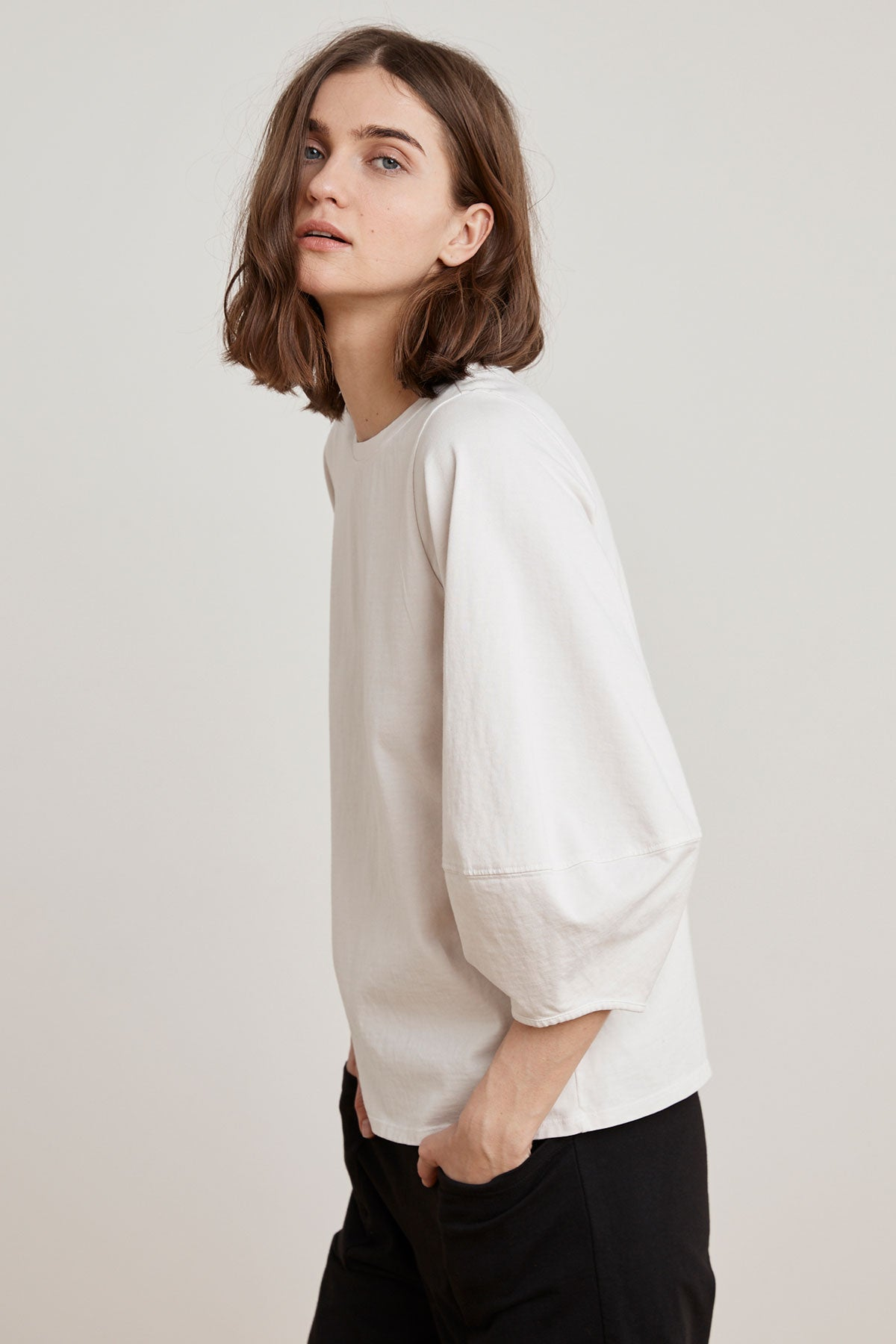 JENICA STRUCTURED COTTON PUFF SLEEVE TOP