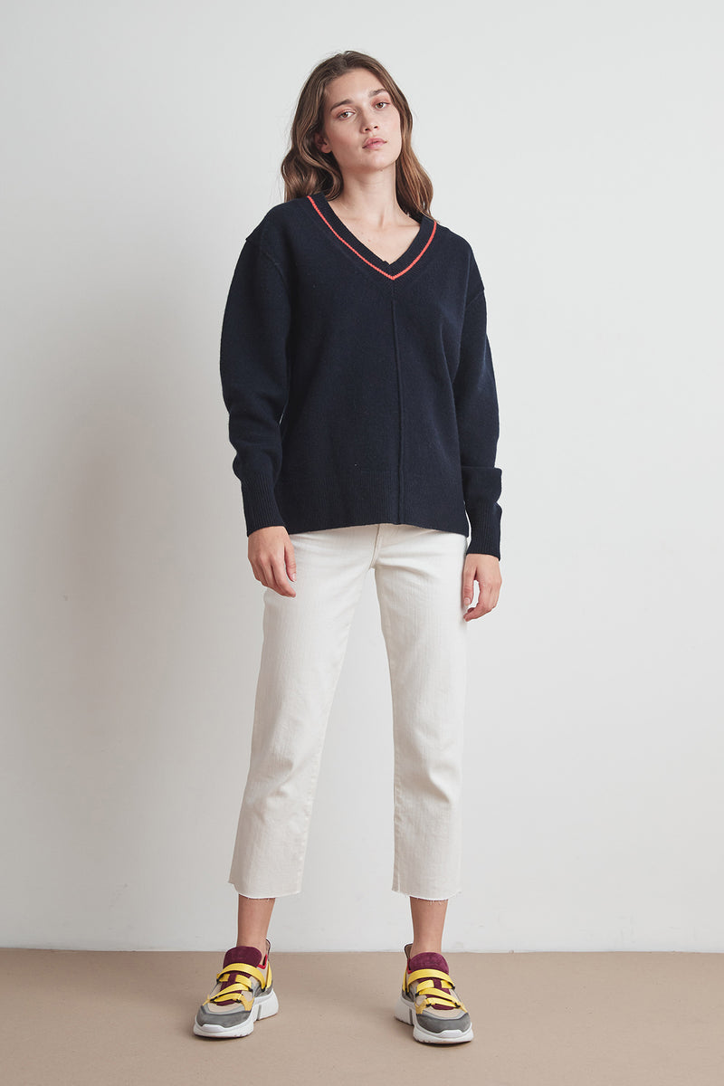 HAIDEE CASHMERE BLEND V-NECK SWEATER