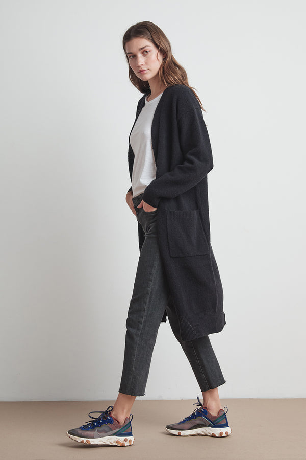 LENI PLUSH BOUCLE LONG CARDIGAN