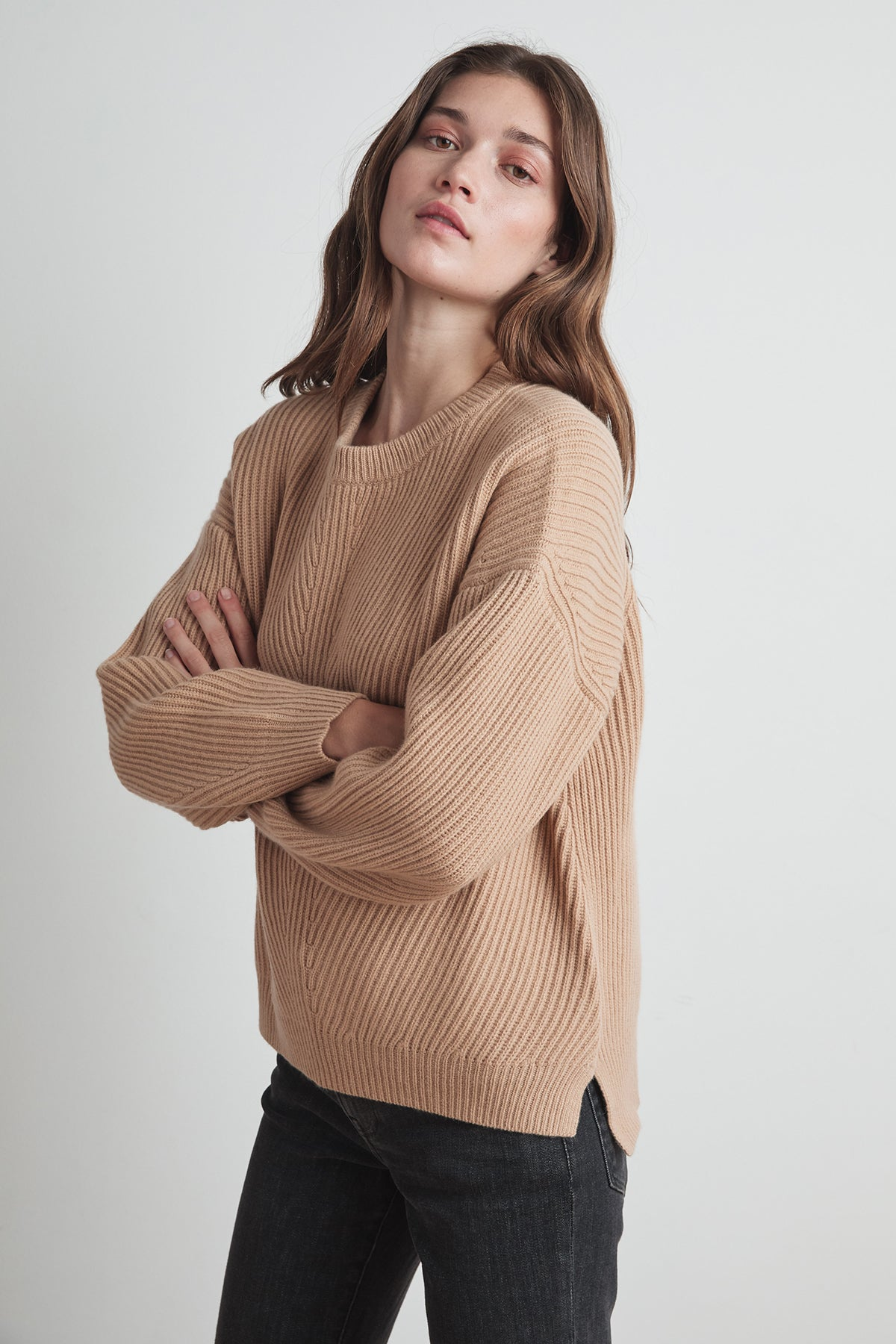 SOPHIE WOOL CASHMERE TEXTURED SWEATER