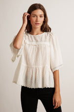 RAINA BEADED SWISS DOT SCALLOPED BLOUSE
