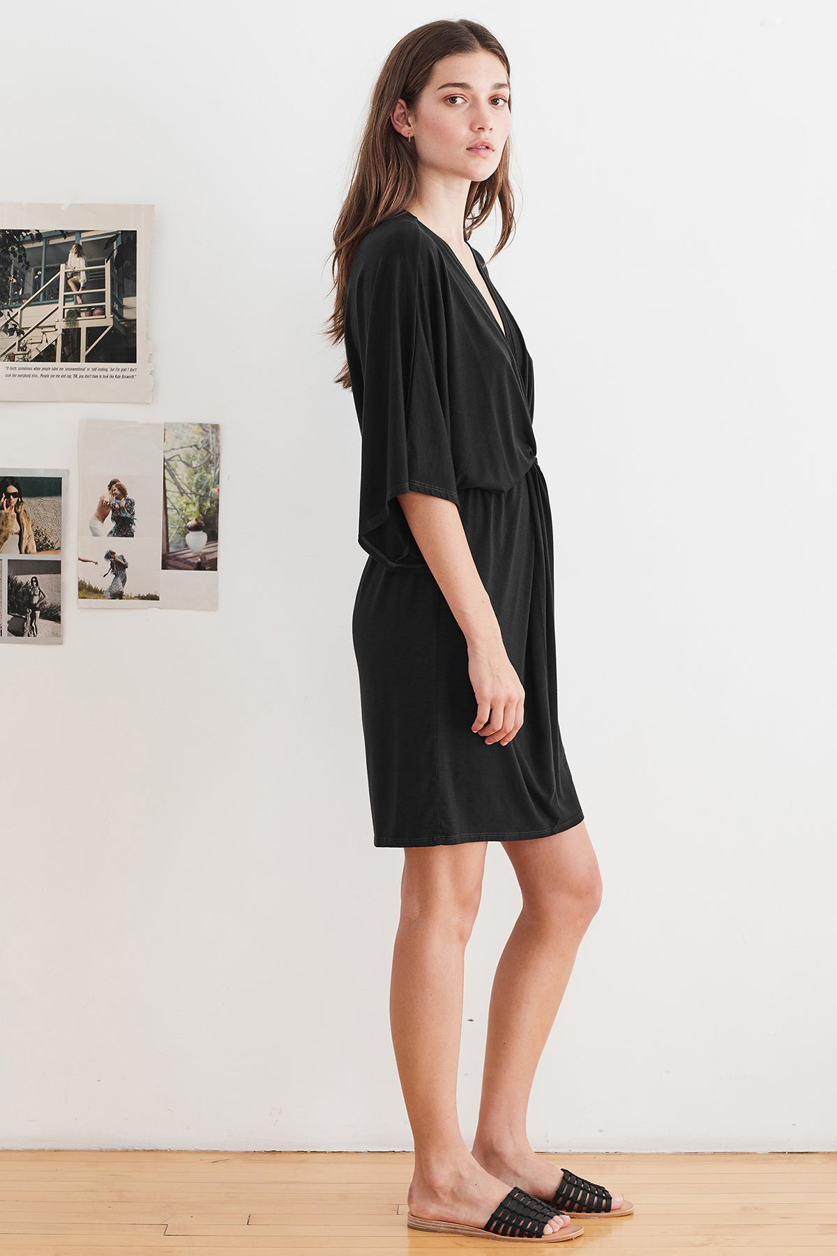 AMANDA TENCEL TWIST FRONT DRESS