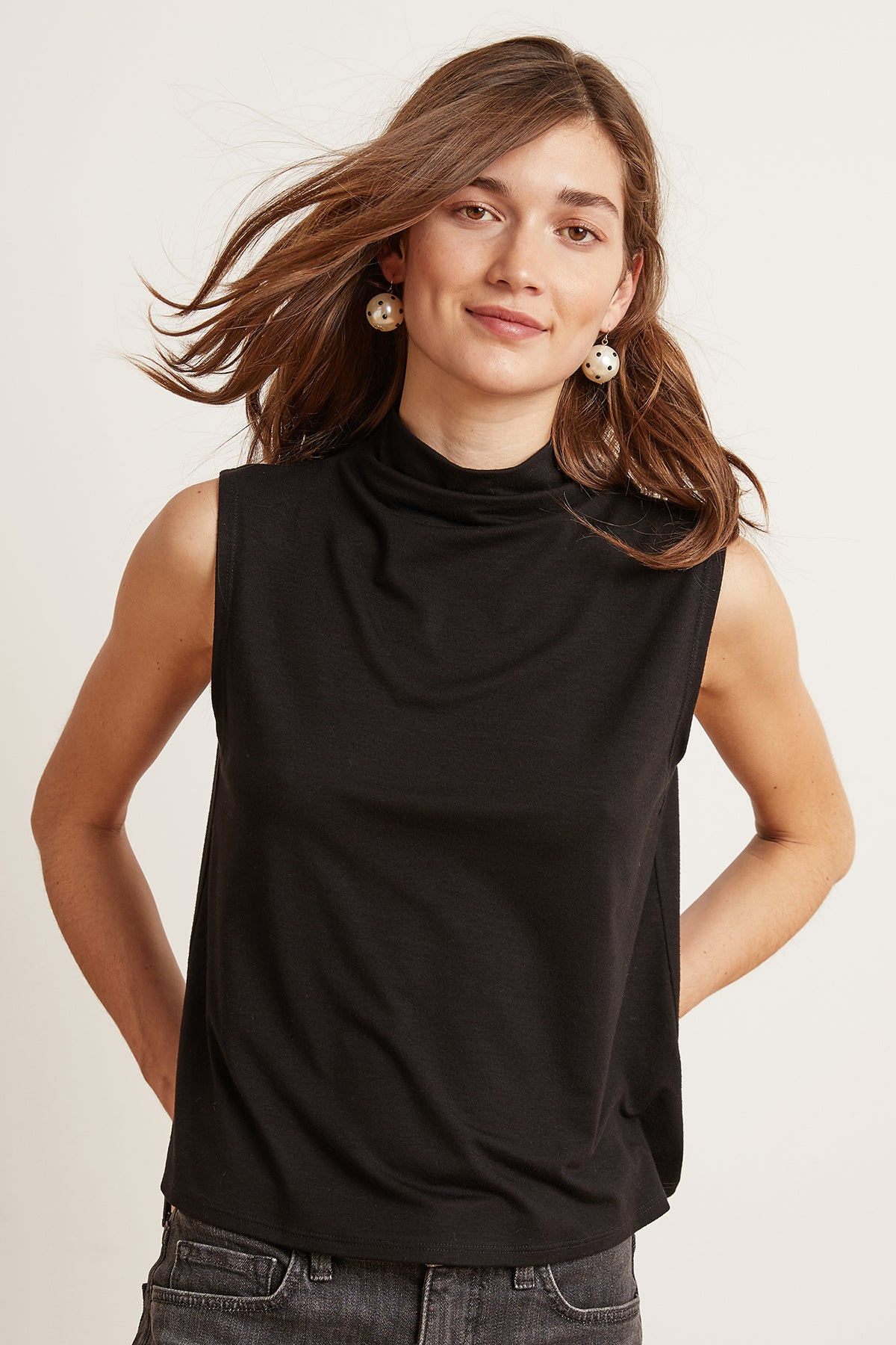 BETHEL TENCEL MOCK NECK SLEEVELESS TOP