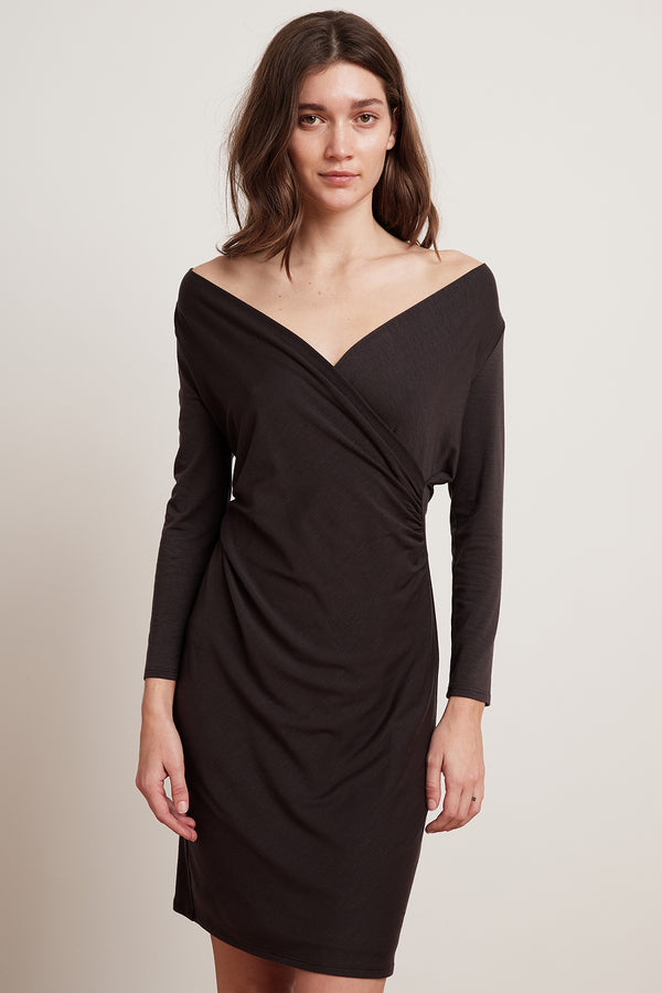CAROLYN TENCEL LONG SLEEVE WRAP DRESS