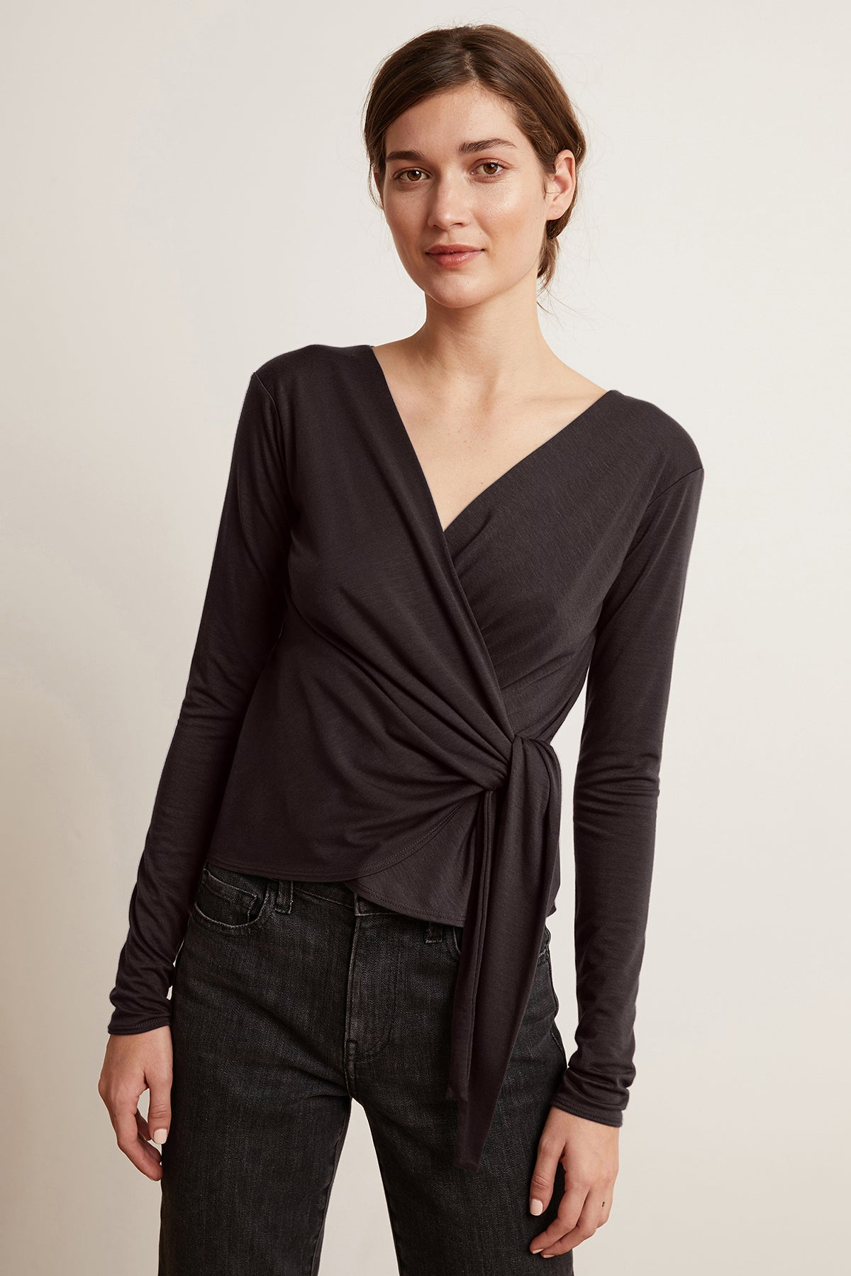 JANESSA TENCEL LONG SLEEVE FAUX WRAP TOP
