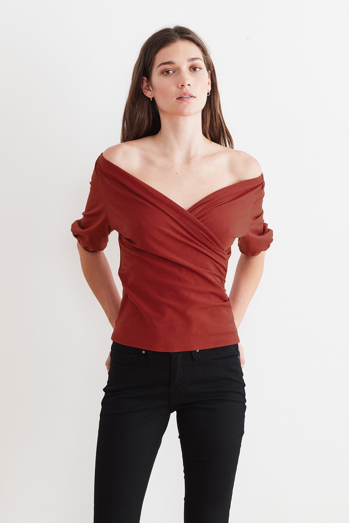 LEE TENCEL JERSEY PUFF SLEEVE WRAP TOP