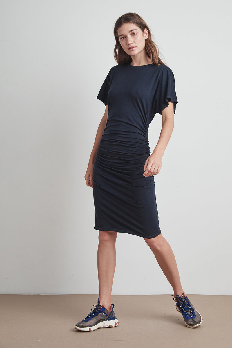 LUNA TENCEL JERSEY SHIRRED DRESS