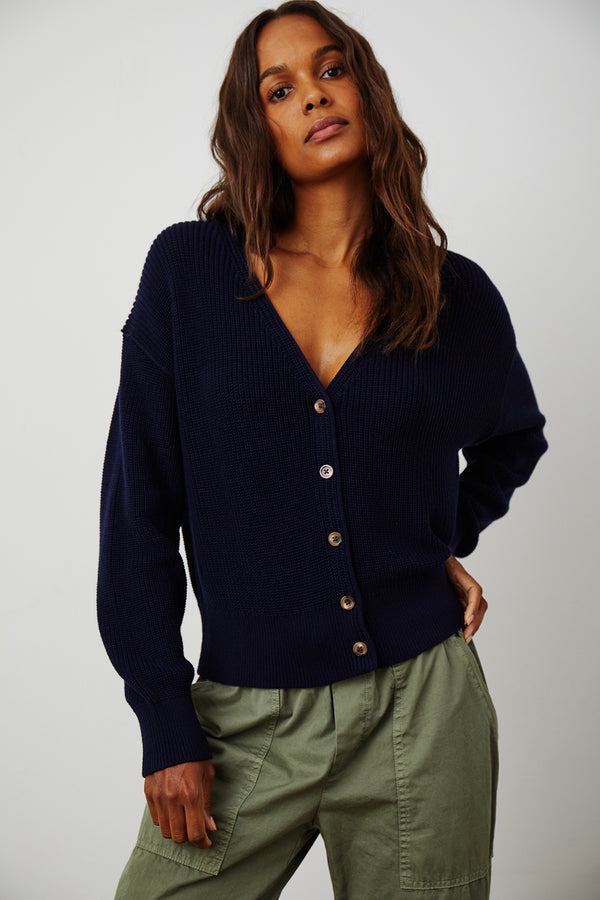 SOLANGE TEXTURED COTTON CARDIGAN