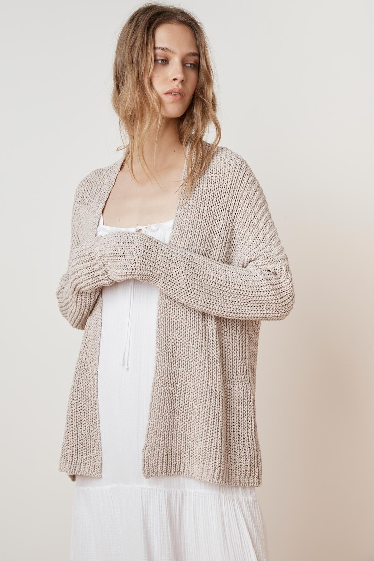 FELICE DROP SHOULDER TEXTURED CARDIGAN