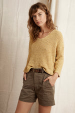 MAIA TEXTURED TAPE YARN V-NECK SWEATER