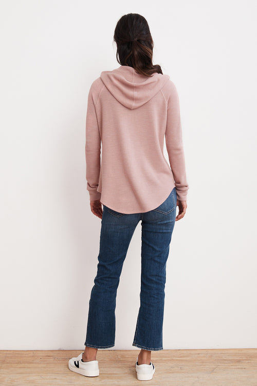 SKYLA TEXTURED COTTON THERMAL HOODED TOP