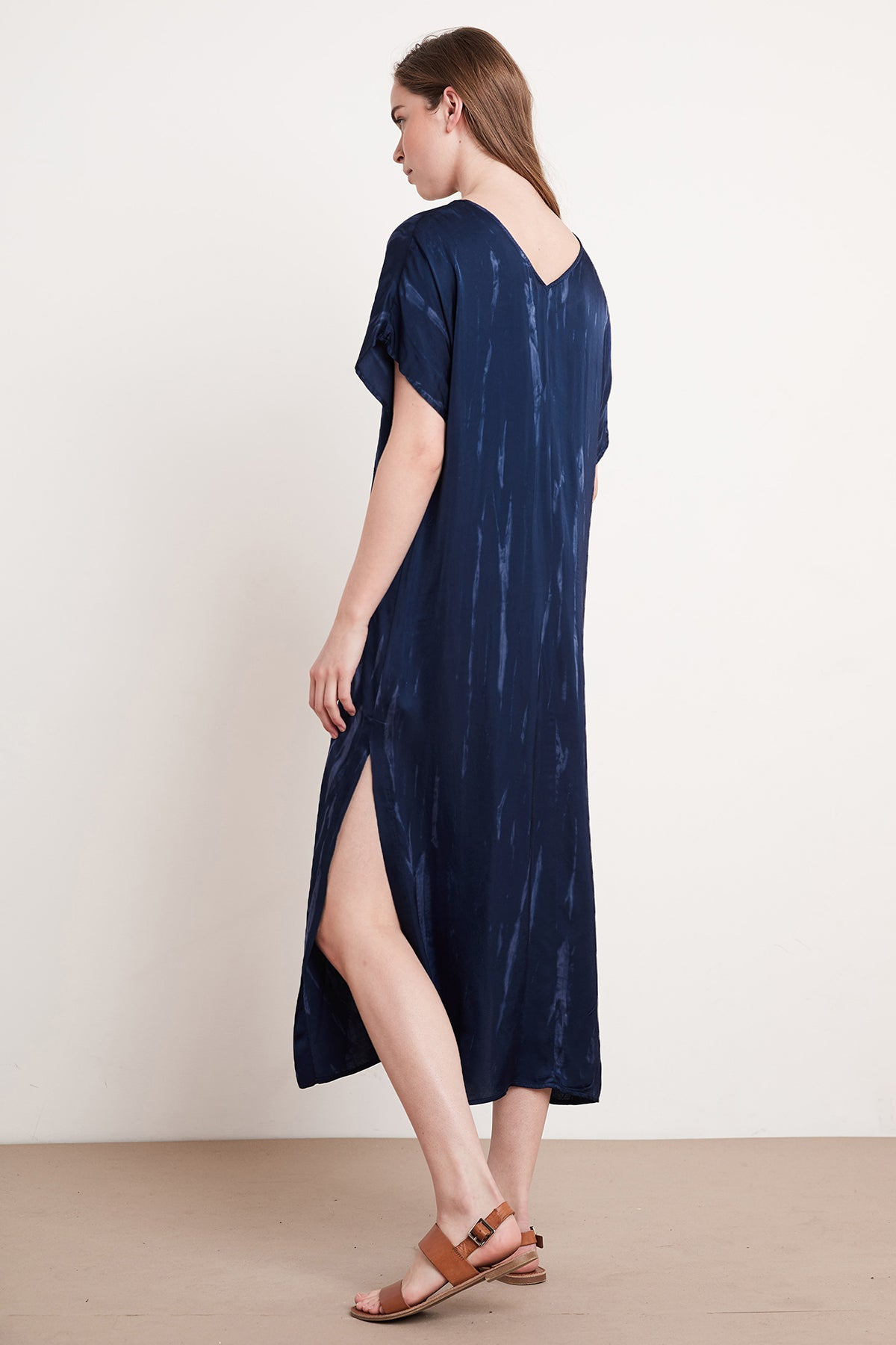 VALERIE TIE DYE SATIN KAFTAN DRESS