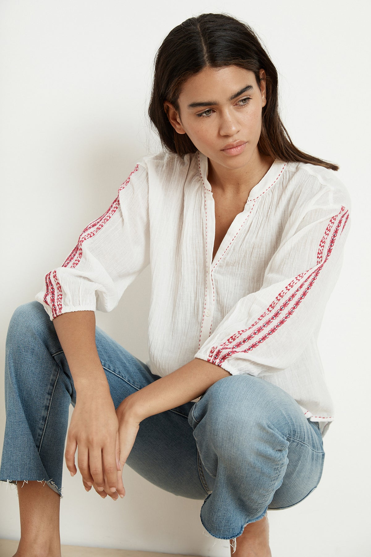 AUBURN EMBROIDERED URSULA GAUZE BUTTON-UP BLOUSE
