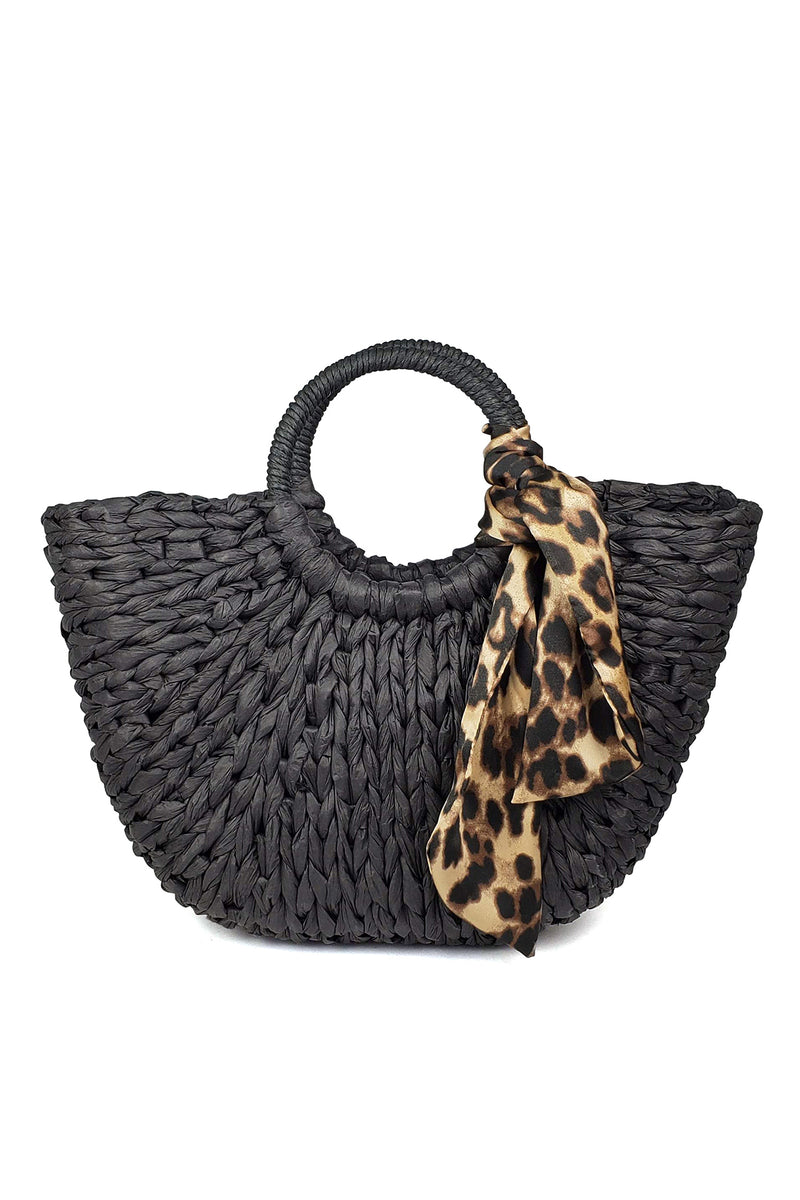 EVE ROUND HANDLE LEOPARD SCARF TOTE