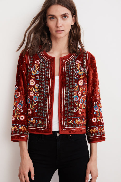 NITA VELVET EMBROIDERED JACKET