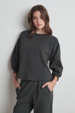 ADDILYN VINTAGE FLEECE SHIRRED SLEEVE PULLOVER