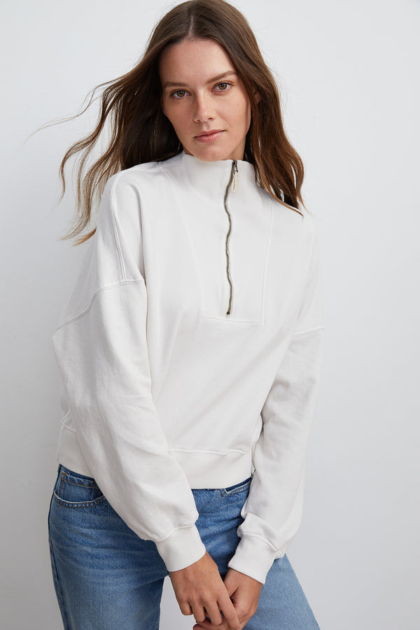 NILLY MOCK NECK ZIP SWEATSHIRT