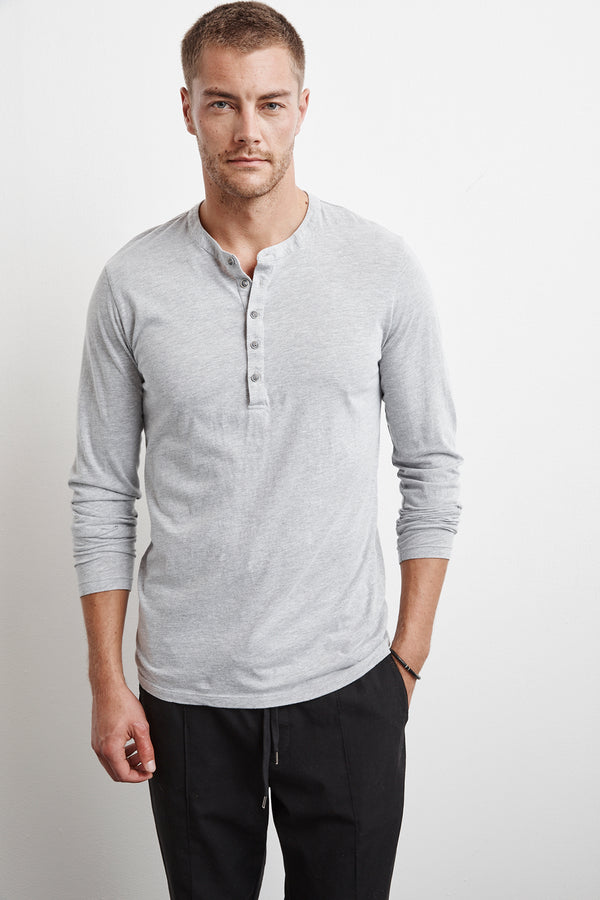 ALVARO HEATHER GREY COTTON JERSEY HENLEY