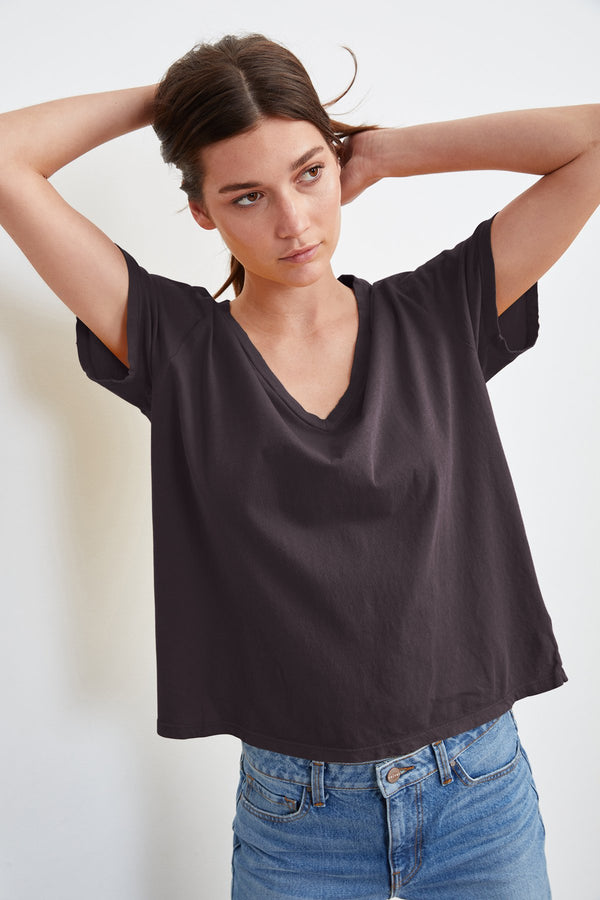 SYDNEY DISTRESSED WHISPER V-NECK TEE