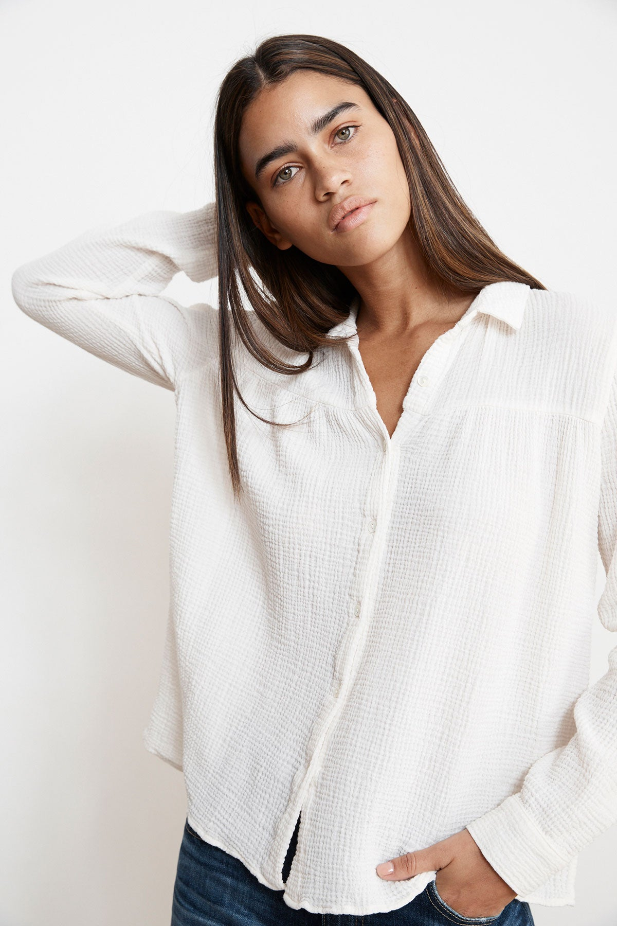 MONTY WINTER GAUZE BUTTON UP TOP