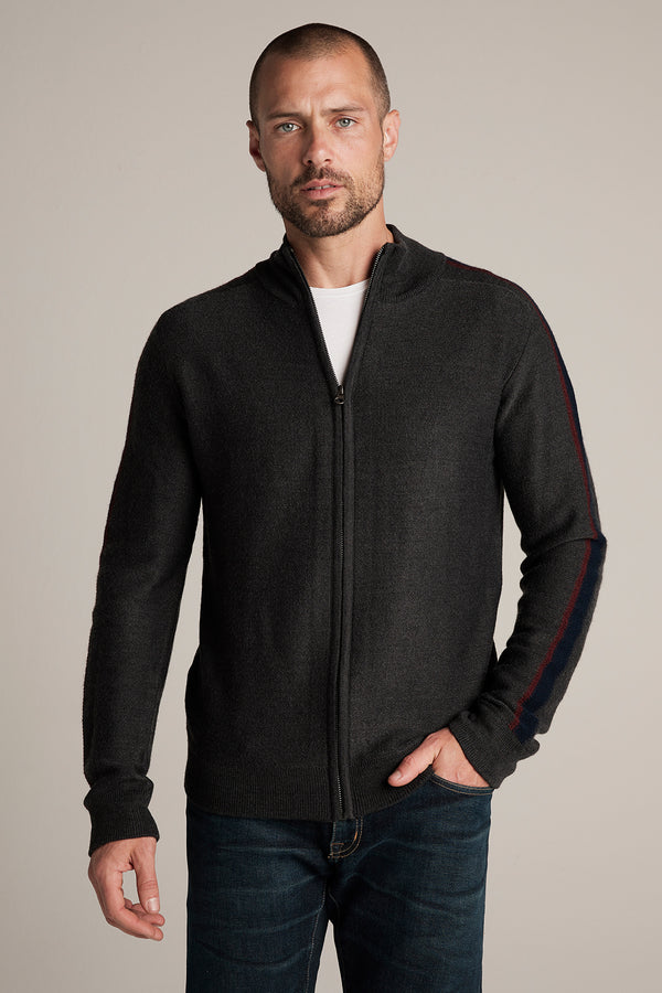 CRANE WOOL BLEND ZIP UP CARDIGAN