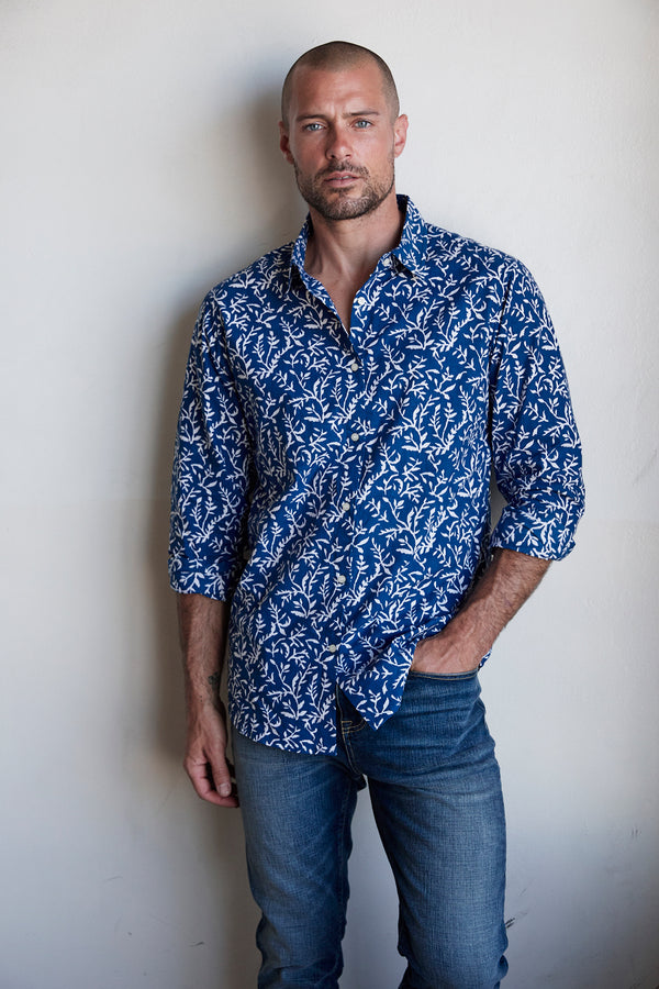 IANN PRINTED COTTON WOVEN BUTTON UP