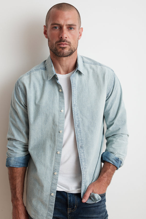 PHOENIX COTTON CHAMBRAY BUTTON UP SHIRT