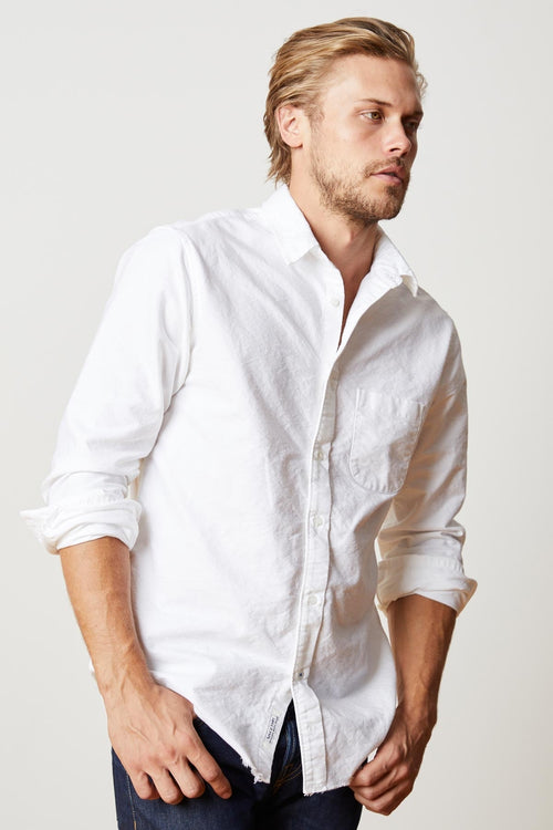 JIMMY LONG SLEEVE COTTON RAW EDGE BUTTON-UP