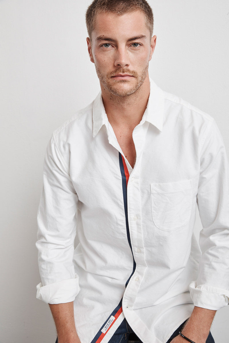 GENO WOVEN COTTON STRIPE TRIM SHIRT