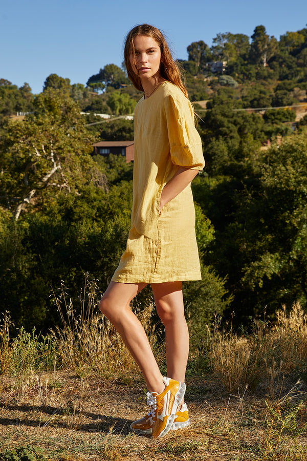DEVON WOVEN LINEN PUFF SLEEVE DRESS
